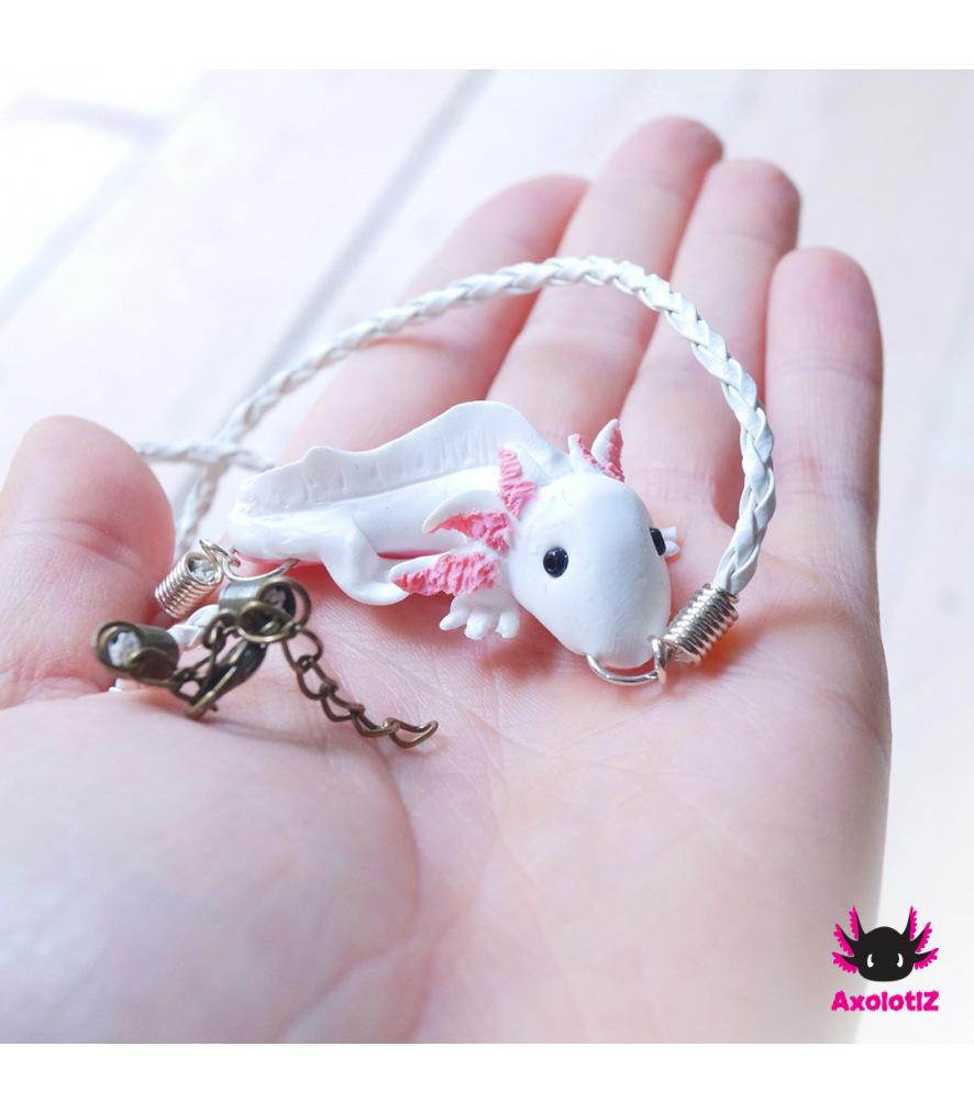 Axolotl necklace white-pink
