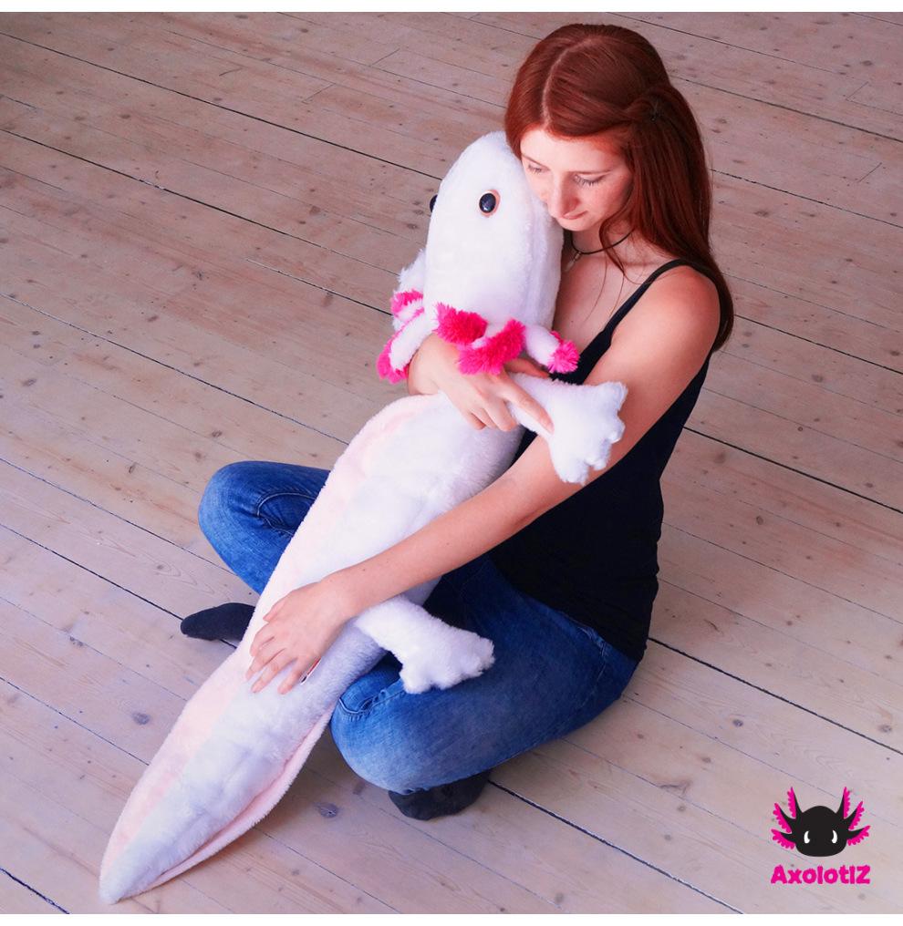 XXL-Axolotl Stofftier weiß 1,2m